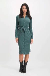 Lofty Manner blousejurk Carmijn met ceintuur groenblauw, Groenblauw