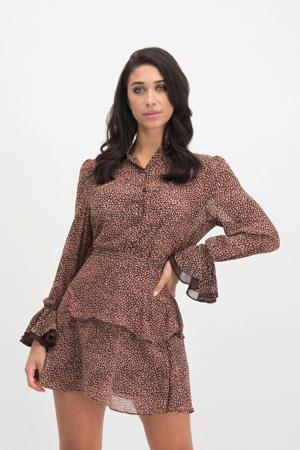 blouse Valerie met allover print oudroze