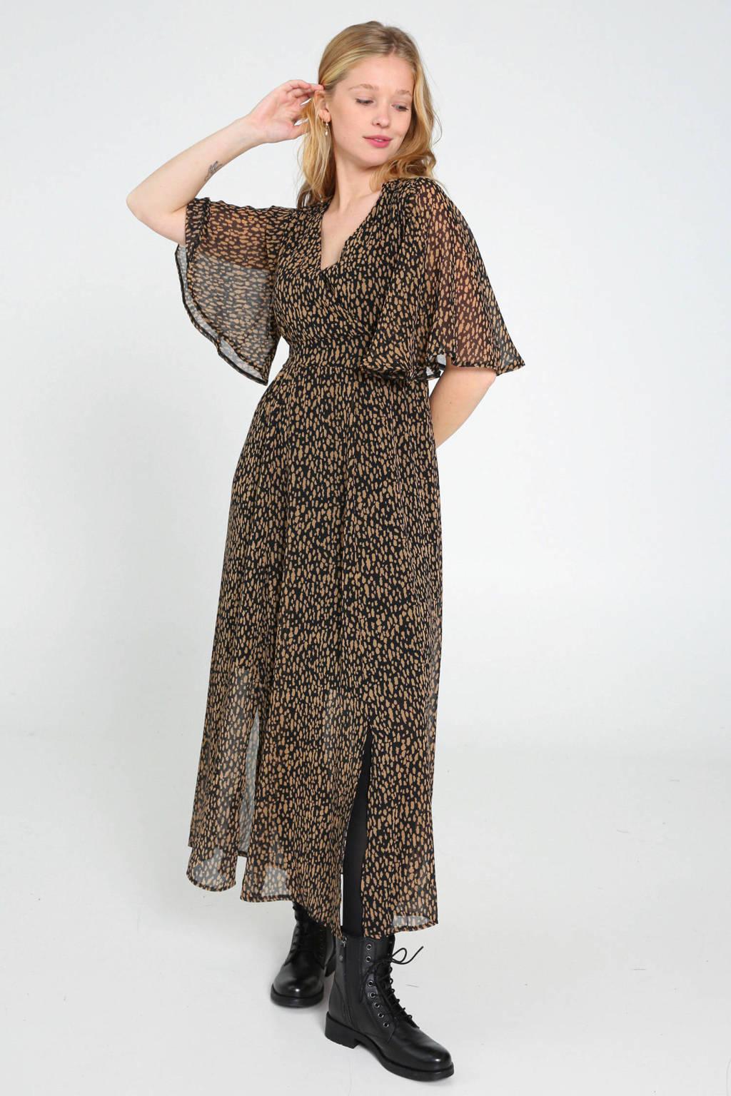 Cassis semi-transparante maxi jurk met all over print en volant zwart/beige, Zwart/beige
