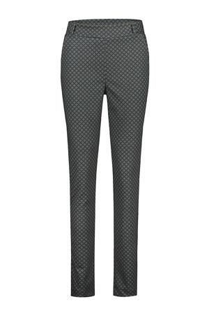 slim fit broek met all over print antraciet/zwart