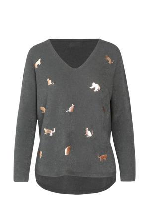 fijngebreide trui met printopdruk en glitters donkergroen/goud