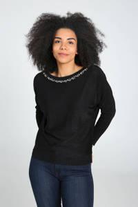 Cassis fijngebreide trui met sierstenen zwart/multi, Zwart/multi