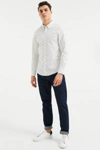 WE Fashion Blue Ridge slim fit overhemd met all over print new ivory, New Ivory