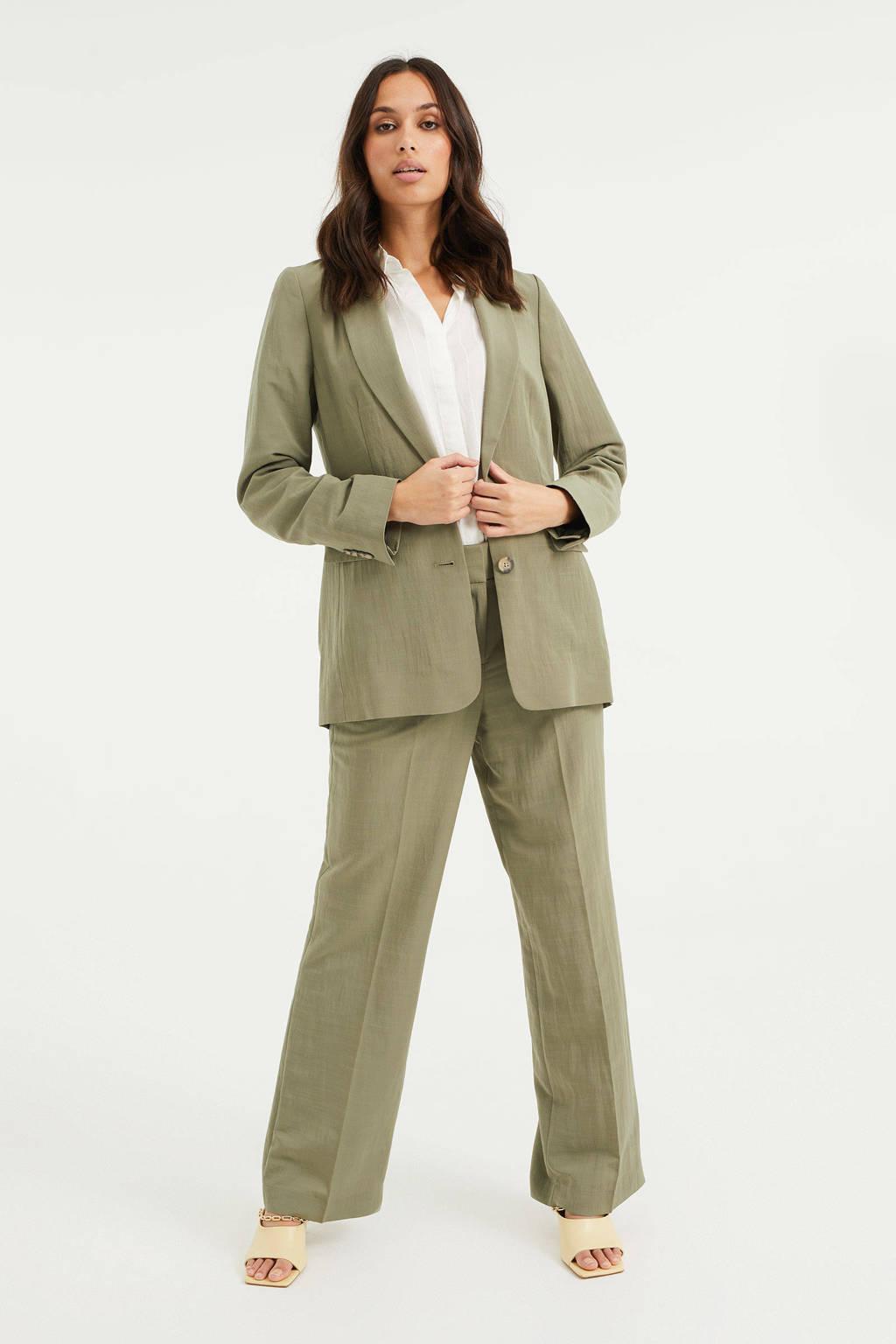 WE Fashion geweven blazer sage groen