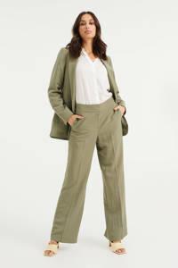 WE Fashion loose fit broek met textuur olijfgroen, Olijfgroen
