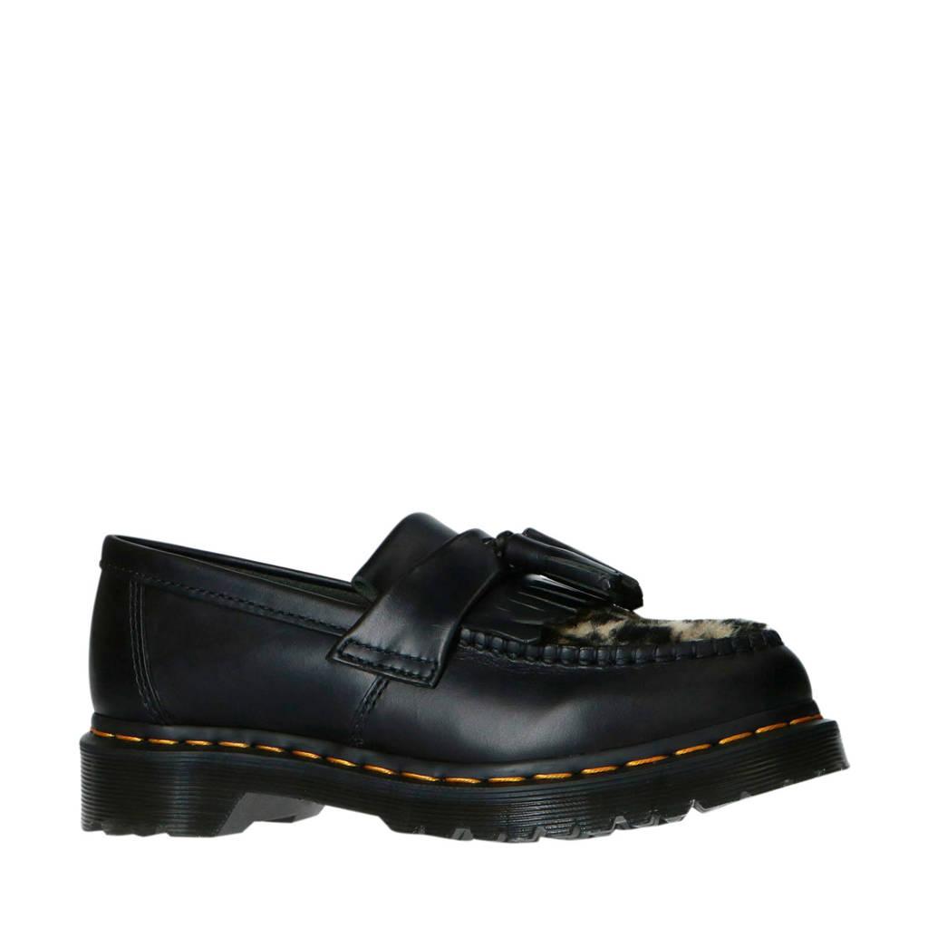 Dr. Martens Adrian Black leren loafers met panterprint zwart, Zwart/bruin