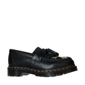 Adrian Black leren loafers met panterprint zwart