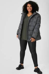 C&A XL Yessica imitatieleren legging zwart, Zwart