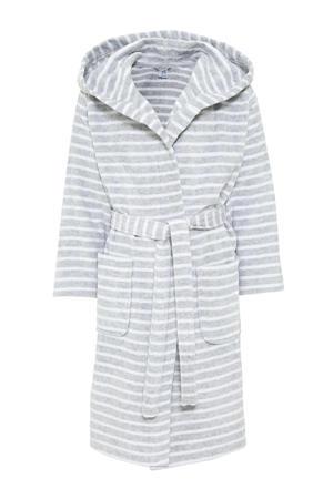 badjas lichtgrijs/wit