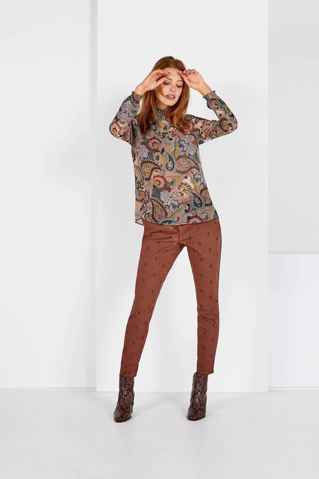 Expresso cropped slim fit pantalon met all over print bruin, Bruin