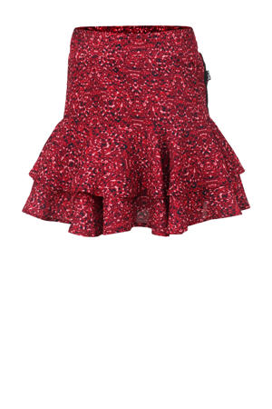 rok met all over print en volant rood/donkerrood