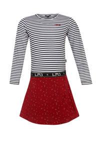 Little Miss Juliette gestreepte jurk rood/donkerblauw/wit, Rood/donkerblauw/wit