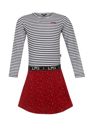 gestreepte jurk rood/donkerblauw/wit