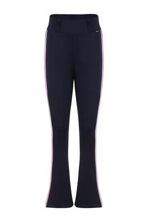 flared broek met zijstreep donkerblauw/roze/groen