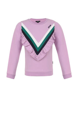 sweater met ruches lila/groen/wit