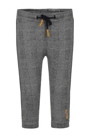 geruite skinny broek met zijstreep zwart/wit