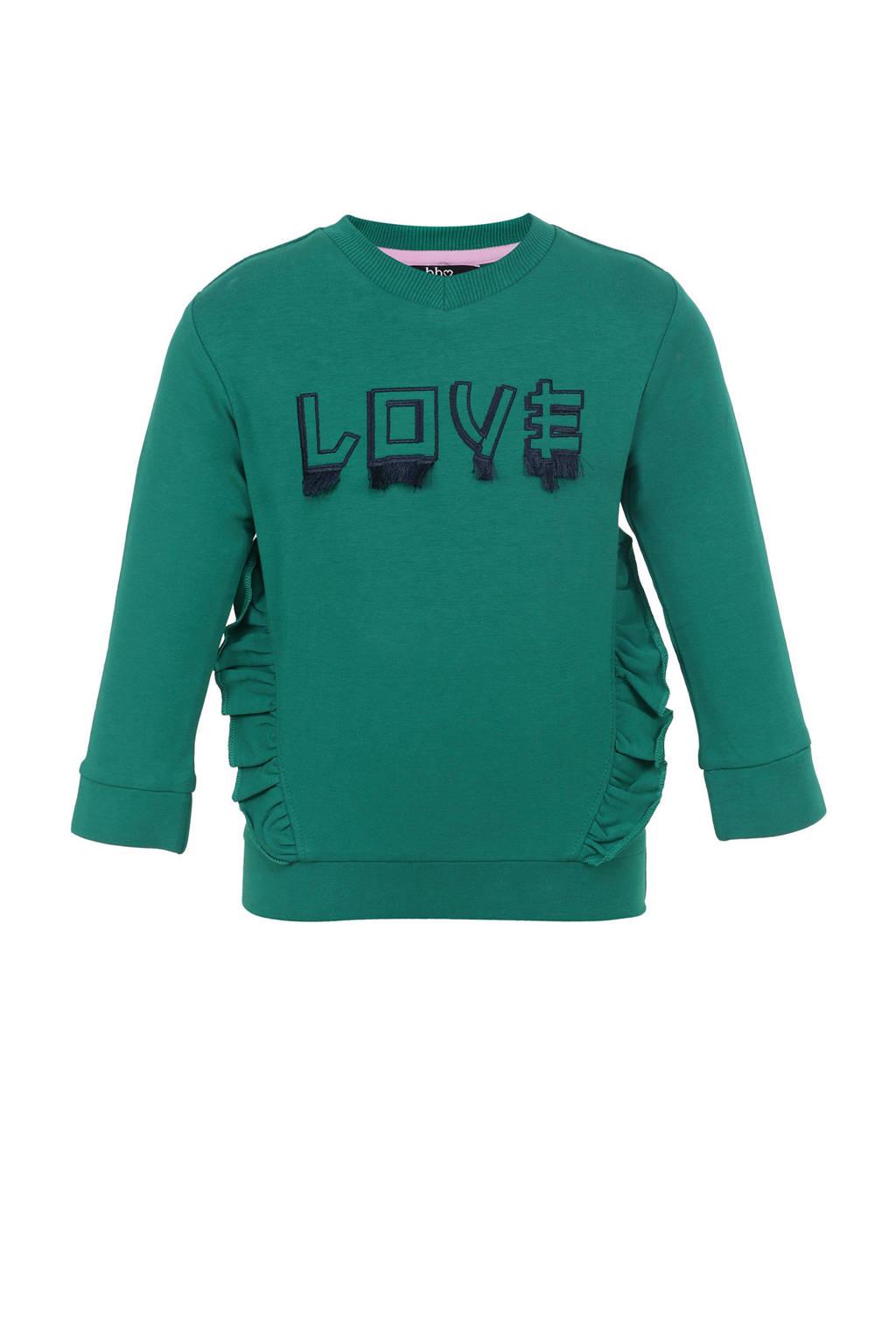 Beebielove sweater met tekst en ruches groen, Groen