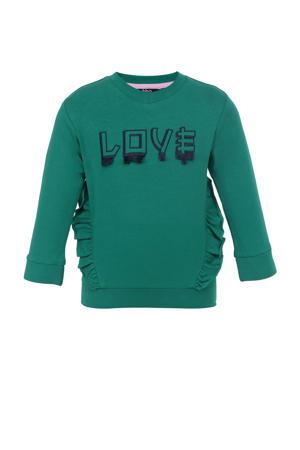 sweater met tekst en ruches groen