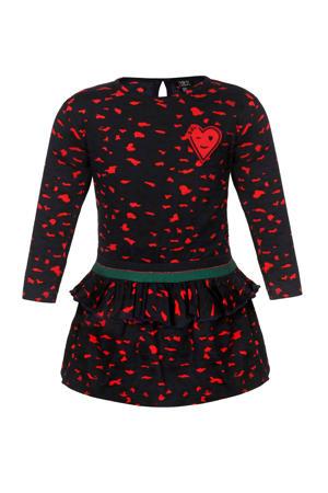 jurk met all over print en glitters donkerblauw/zwart/rood