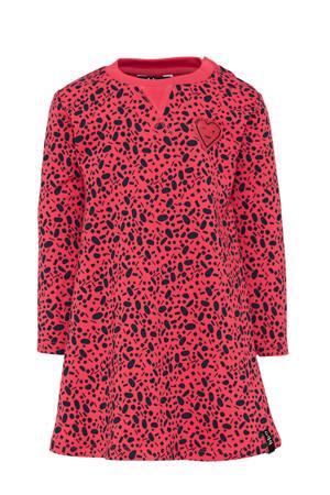 jurk met stippen roze/donkerblauw