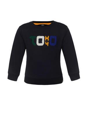 sweater met tekst en 3D applicatie donkerblauw