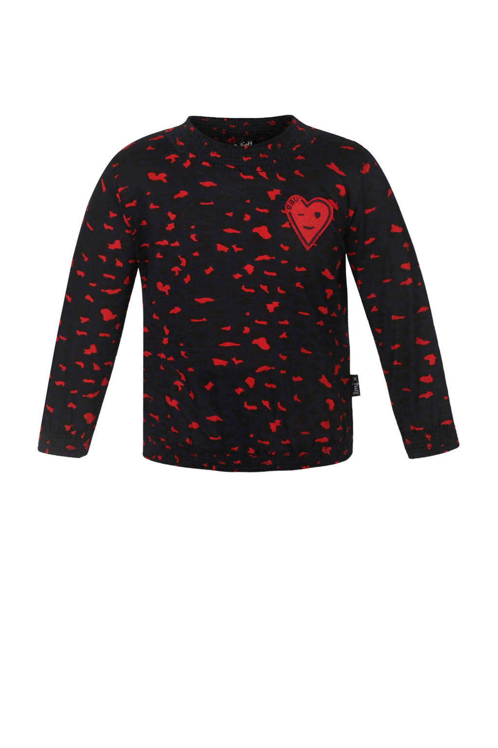 Beebielove top met all over print donkerblauw/rood, Donkerblauw/rood