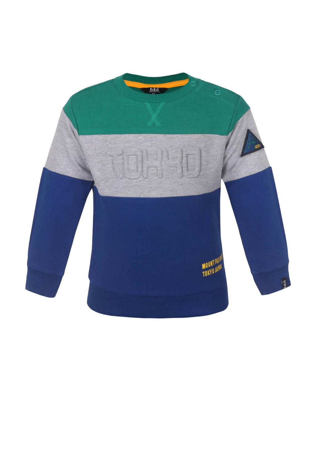 Beebielove sweater blauw/grijs/groen