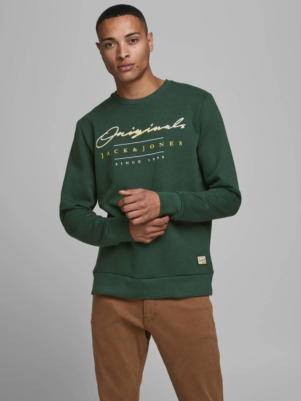 JACK & JONES ESSENTIALS sweater met logo groen, Groen