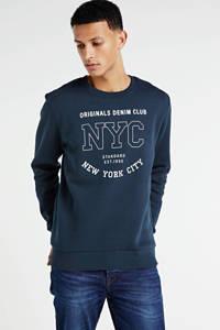 JACK & JONES ORIGINALS sweater met printopdruk donkerblauw, Donkerblauw