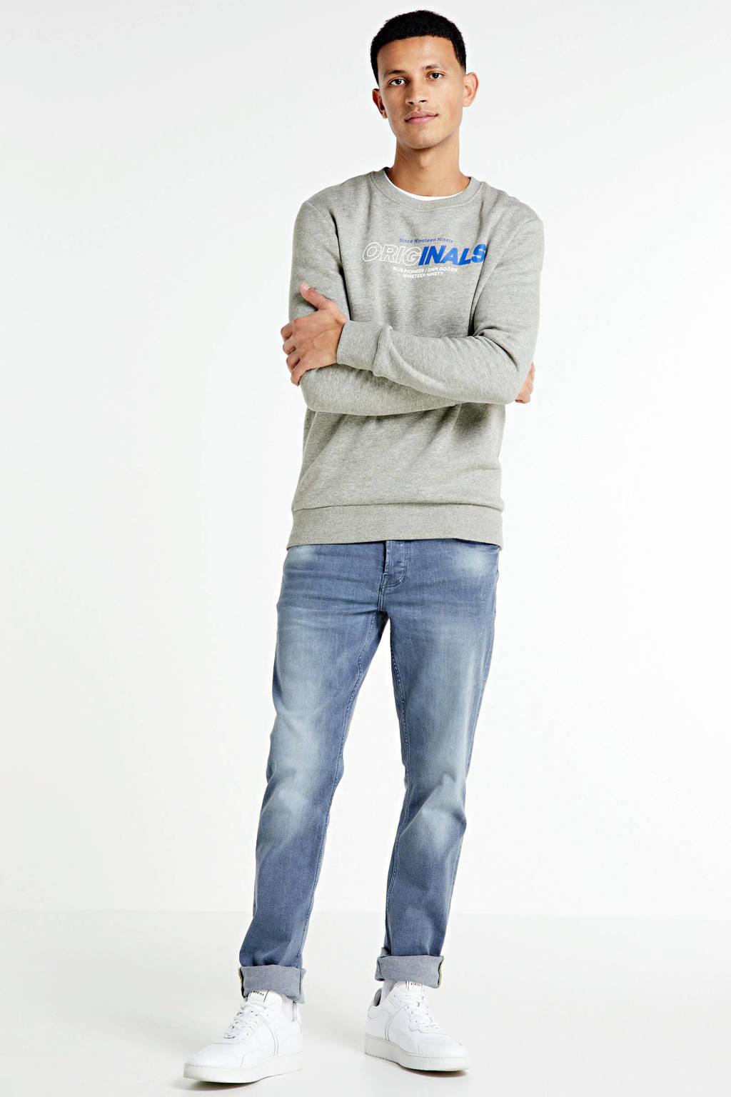 JACK & JONES ORIGINALS sweater met printopdruk grijs melange, Grijs melange
