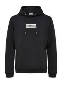 SELECTED HOMME hoodie James met logo zwart, Zwart