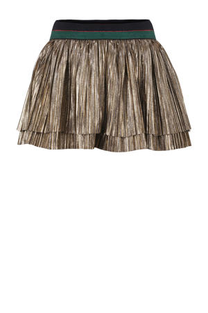 reversible plissé rok goud/donkerblauw