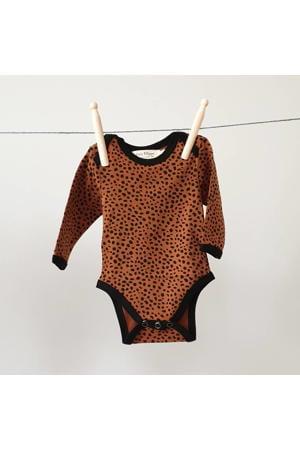 baby romper lange mouw Cheetah brique/zwart