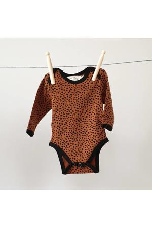 romper lange mouw Cheetah brique/zwart