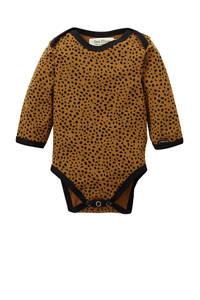 Petit Filippe baby romper lange mouw Cheetah brique/zwart, Brique/zwart