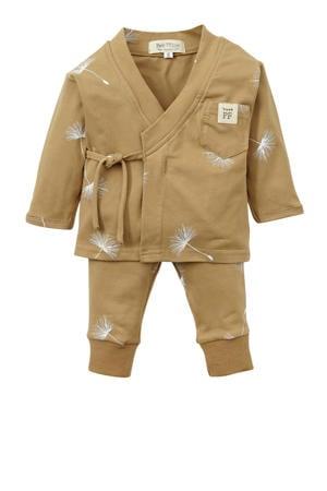 baby overslag longsleeve + broek Dandelion beige/wit