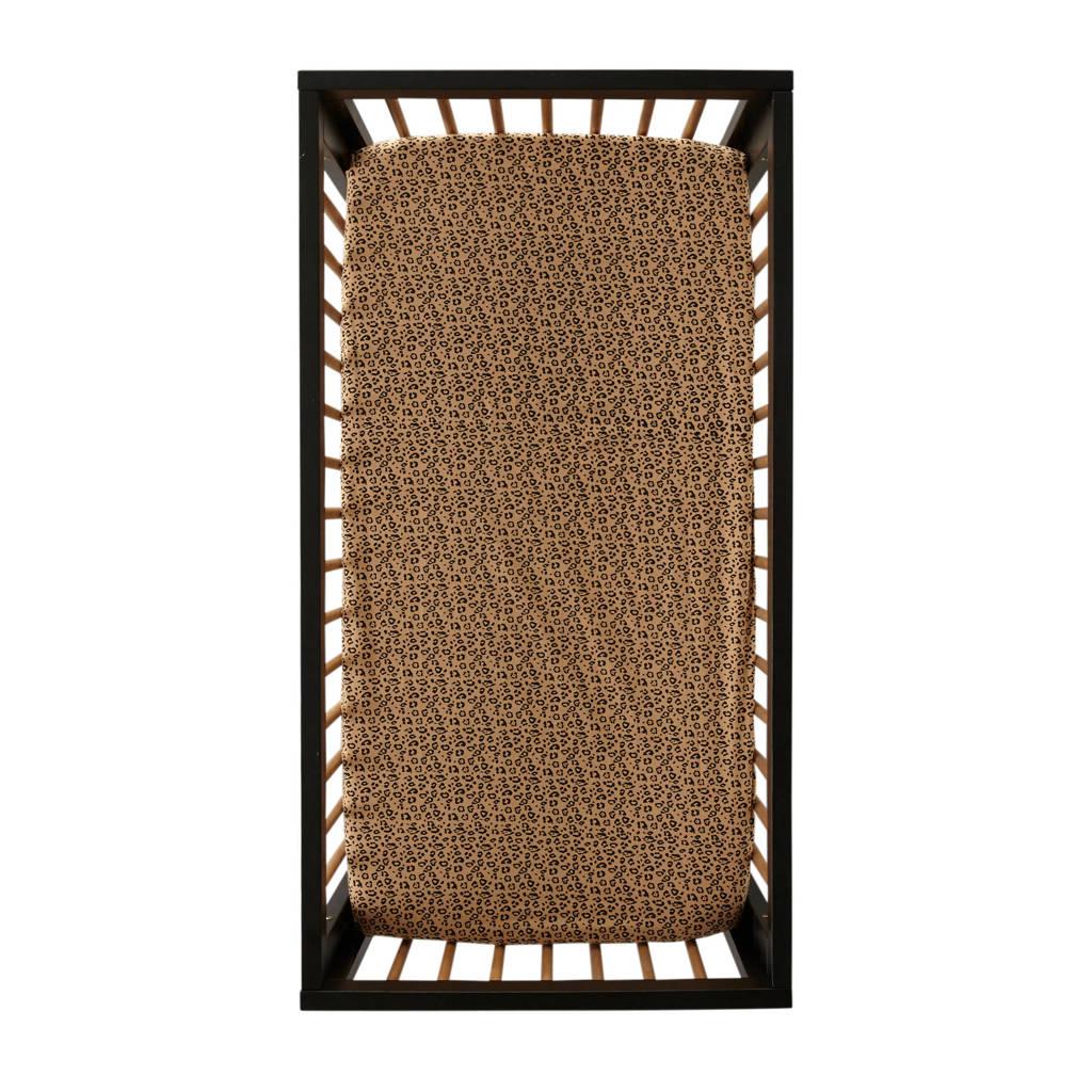 Petit Filippe linnen baby ledikanthoeslaken 60x120 cm Leopard beige/zwart, Beige/zwart