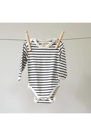 baby romper lange mouw Breton Stripes donkerblauw/wit