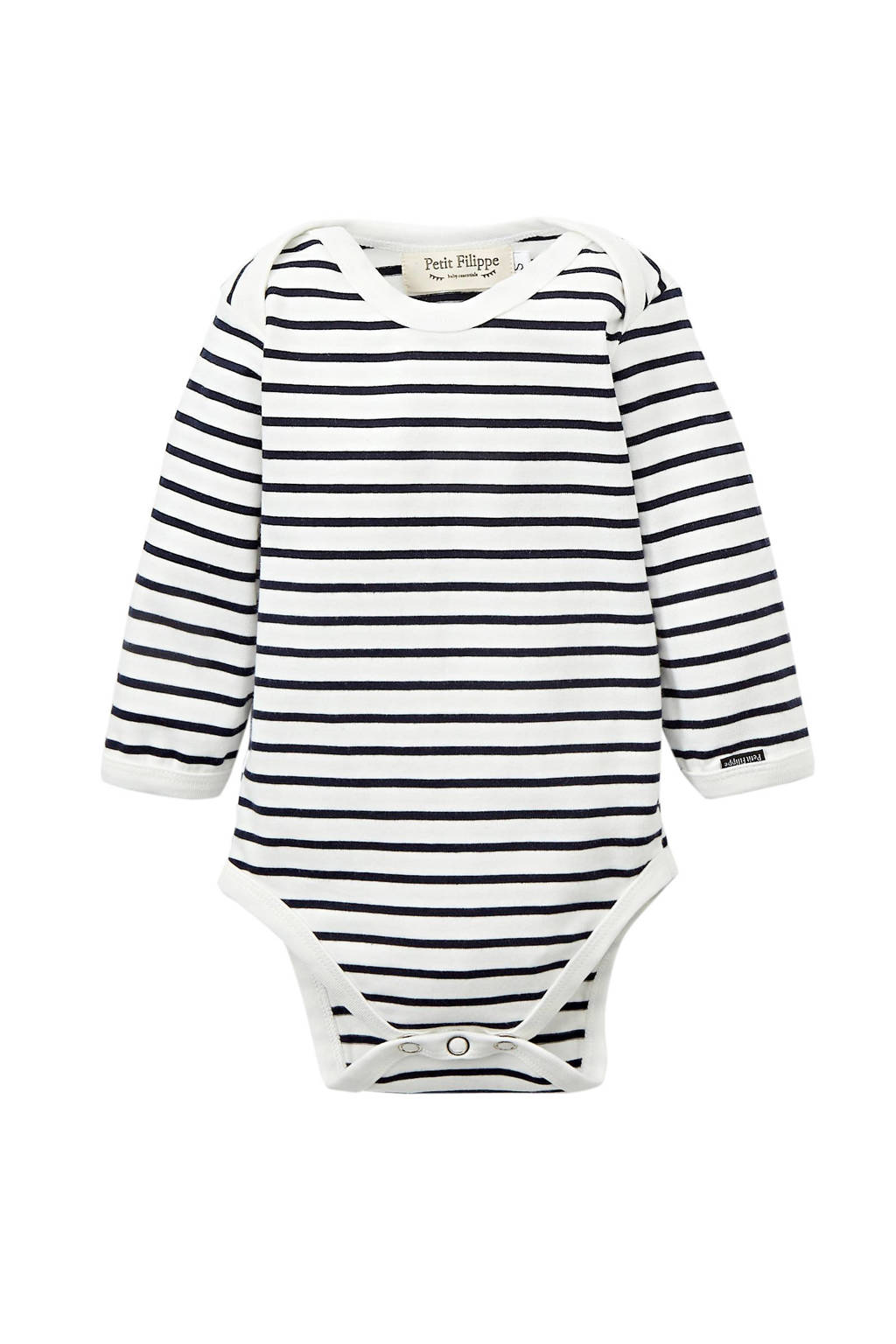 Petit Filippe baby romper lange mouw Breton Stripes donkerblauw/wit, Donkerblauw/wit