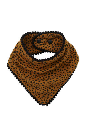 Pom Pom Bandana Bib cheetah brique/zwart