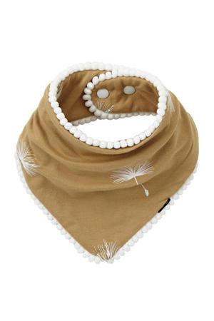 Pom Pom Bandana Bib Dandelion beige/wit