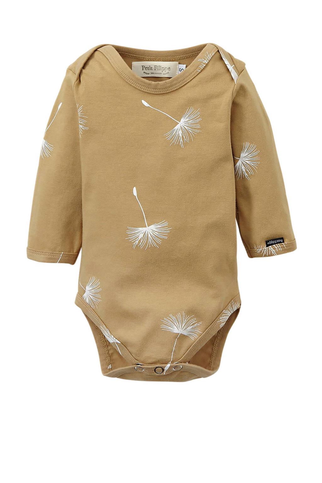 Petit Filippe baby romper lange mouw Dandelion beige/wit, beige/off white