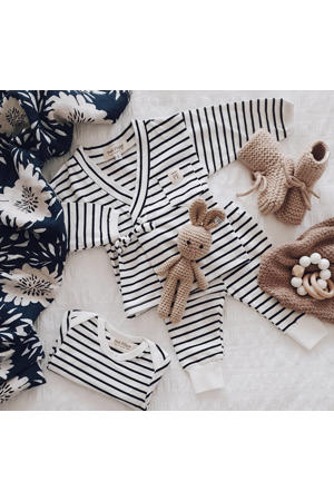 baby overslag longsleeve + broek Breton Stripes wit/donkerblauw