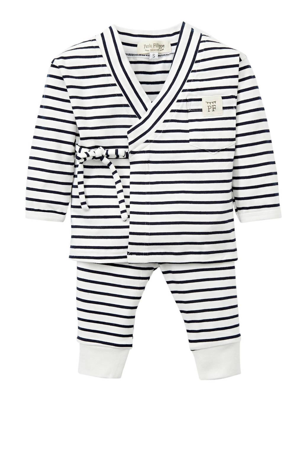 Petit Filippe baby overslag longsleeve + broek Breton Stripes wit/donkerblauw, Donkerblauw/wit