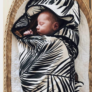 baby wikkeldeken XL Palm & Cheetah 100x100 brique/zwart/wit