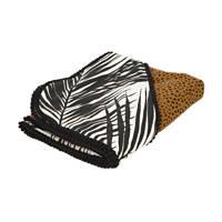 Petit Filippe baby wikkeldeken XL Palm & Cheetah 100x100 brique/zwart/wit, Brique/zwart/off white