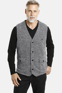 Jan Vanderstorm gilet Mats met all over print zwart, Zwart