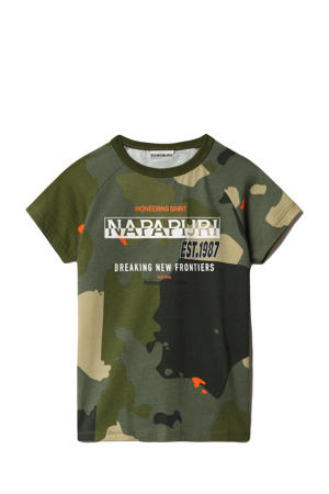 T-shirt Sobbi met camouflageprint groen/donkergroen