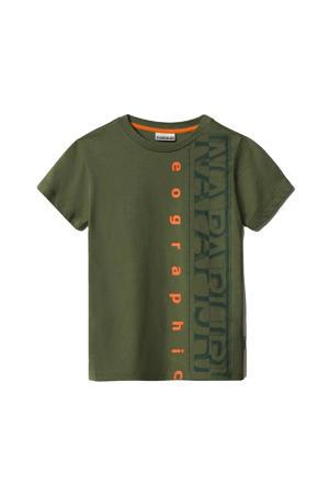 T-shirt Sadyr met logo groen