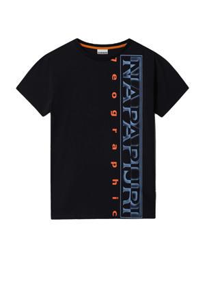 T-shirt Sadyr met logo donkerblauw